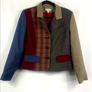 David Brooks short wool patchwork size 8 blazer